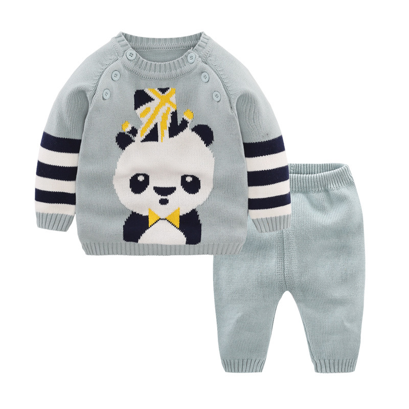 Baby Sets Cotton Panda Cartoon Suits Warm Sweater + Pants Autumn Spring Newborn to 2 Years Baby Boy and Girl Clothes Child Sets
