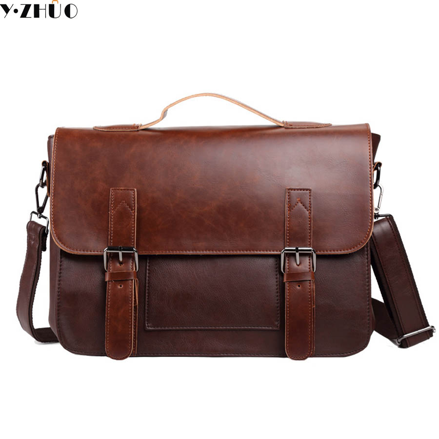 England style leather man briefcase good quality handbags tote crossbody messenger bag business top-handle work shoulder bags y zhuo new 2017 business vintage man tote leather brand handbags men messenger shoulder crossbody bag leather briefcase for man