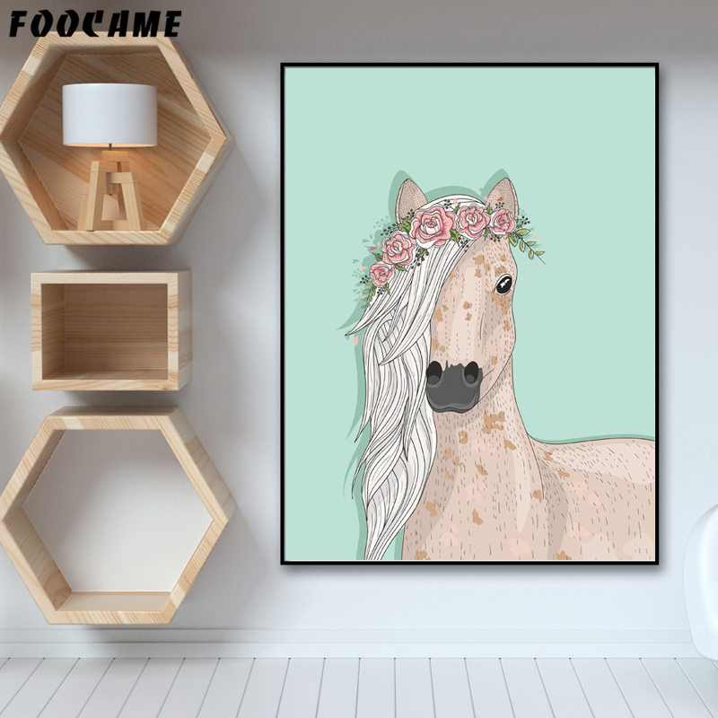Flamingo Foocame Kartun Kuda Unicorn Crown Poster Cetakan Seni Kanvas