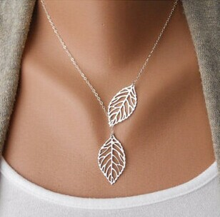 F&U N091 New Stunning Celebrity Sideways Vertical Tree Leaf Charm Infinity Pendant Necklace Chain Wedding Event Fine Jewelry