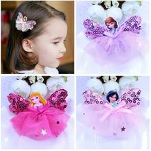 New Children Hair Ornaments Acrylic Exquisite Cartoon Frozen Queen Princess Lace Hairpin Girls Headdress Baby Hair Clips(China)