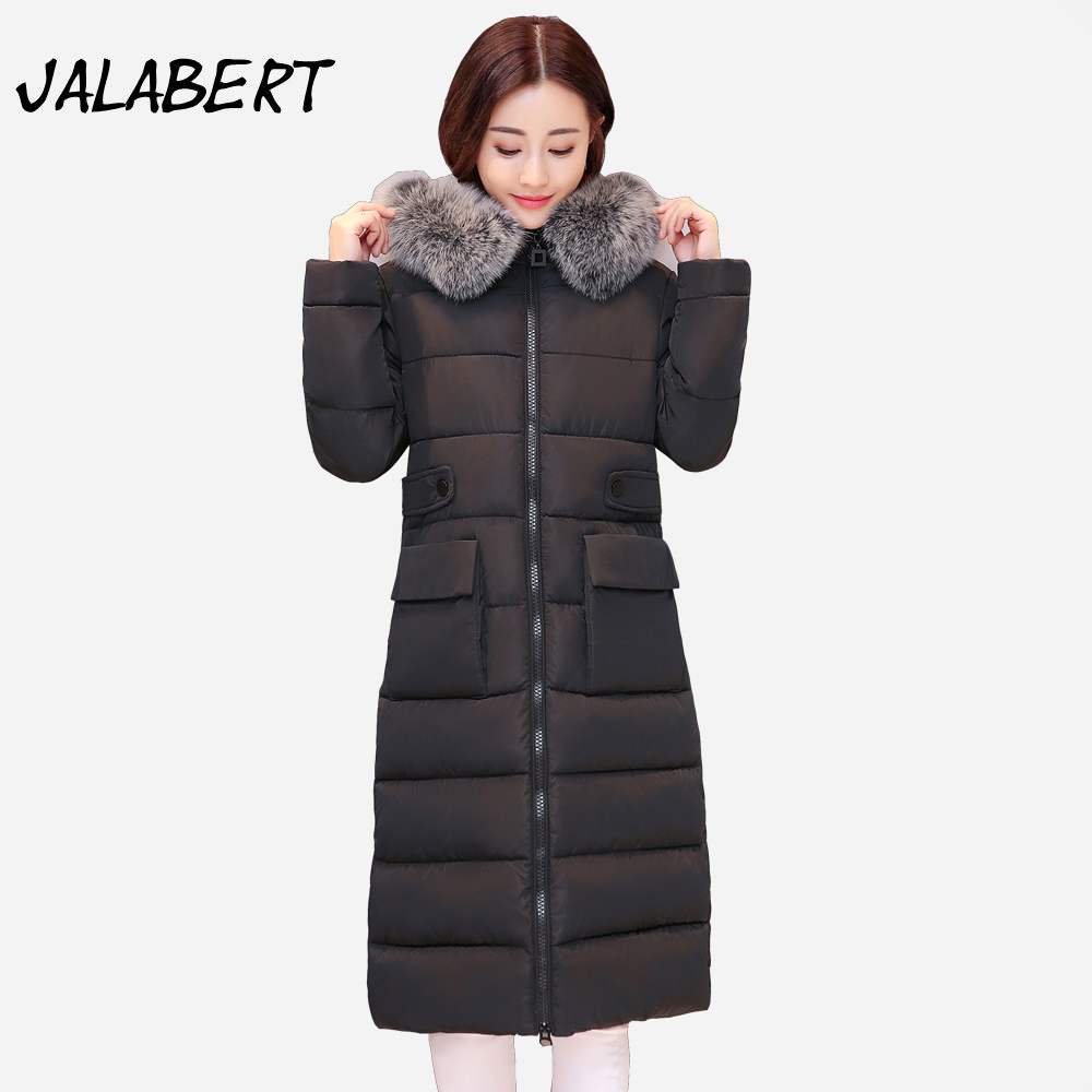 2017 winter new long cotton coat women Big Fur collar warm thick jacket female fashion  cotton Solid pocket Parkas 2017 winter new cotton coat women slim long hooded thick jacket female fashion warm big fur collar solid hem bifurcation parkas