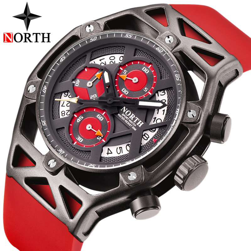 NORTH Mens Watches Top Brand Luxury Chronograph Quartz Watch Men Rubber Casual Military Sport Clock New Watch Relogio Masculino