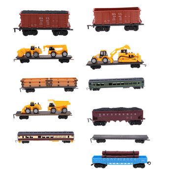 1:87 Scale Simulation Train Model Children Toy Electric Track Train Freight Car Railroad Car Train Carriages Compartment image