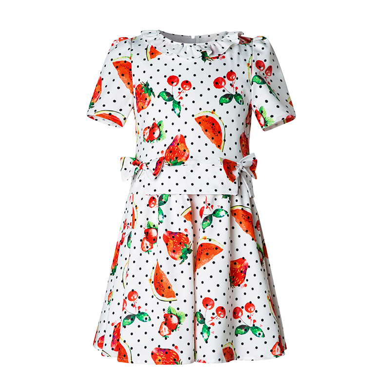 Keelorn Princess Girl Dress 2017 Brand New Watermelon Fruit Printed Kids Dress Girl Clothes European and American Style 4-14Y 100% real photo brand kids red heart sleeve dress american and european style hollow girls clothes baby girl clothes