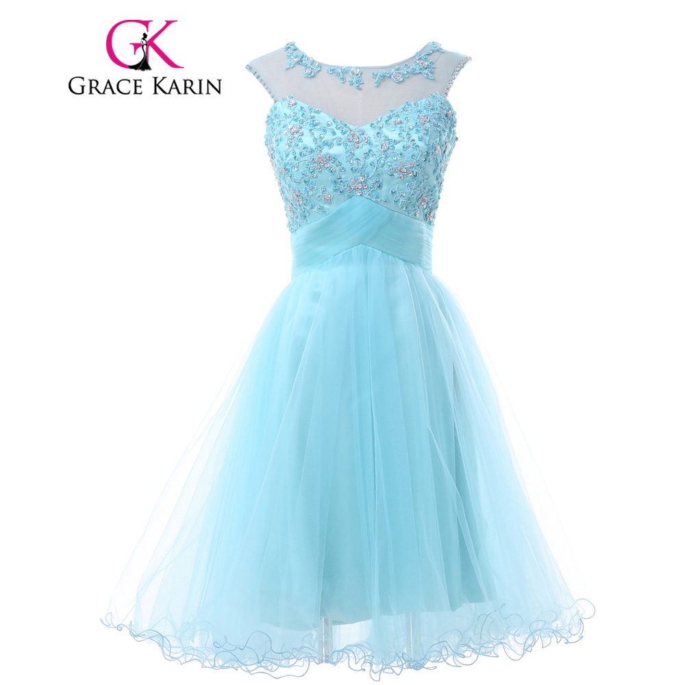 Grace Karin Backless Short Prom Dresses 2017 Tulle Knee Length Blue Pink Lilac Green Sleeveless Lace Sexy Party Evening Gowns