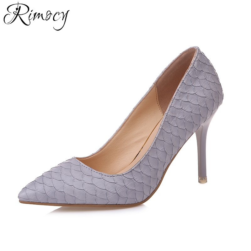 Rimocy sexy pointed toe women's thin high heels pumps 2018 spring summer elegangt slip on sandals woman party wedding shoes brand shoes woman spring summer rainbow women pumps high heels fashion sexy slip on pointed toe thin heel party wedding shoes