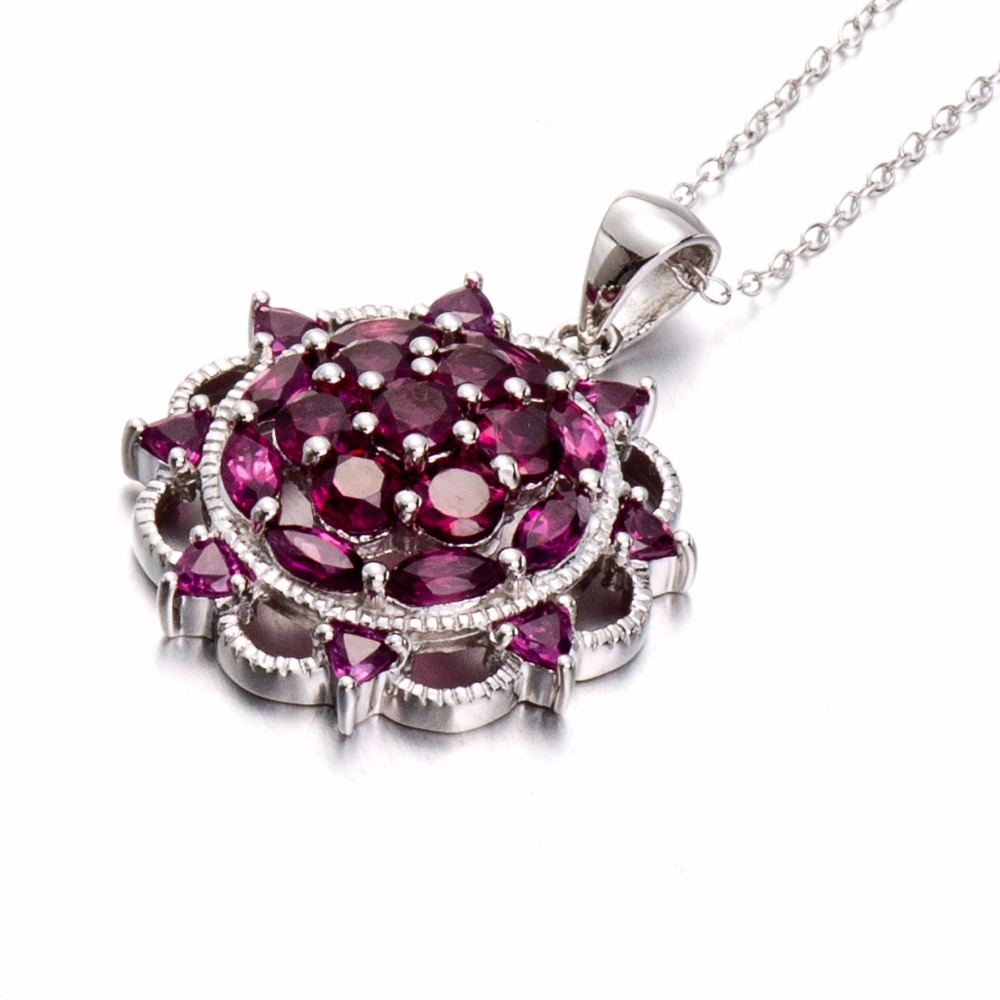 Hutang Solid 925 Sterling Silver 5.03ct Natural Gemstone Rhodolite Garnet Pendant Necklace Fine Jewelry For Women's Gift