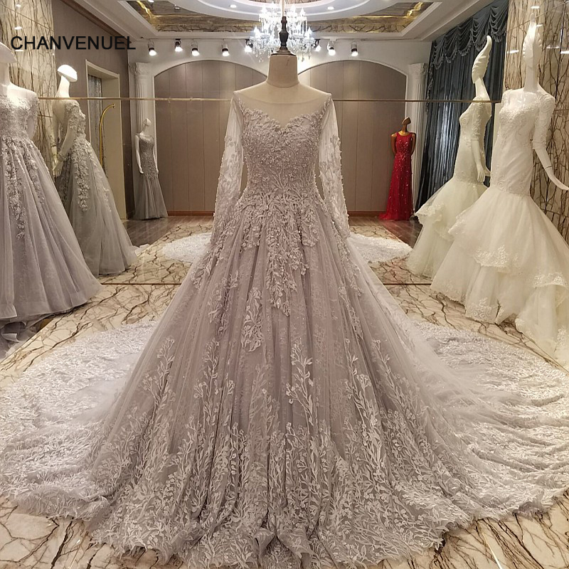 LS28564 luxury long evening dress 2017 corset back grey appliques ball gown long elegant prom evening