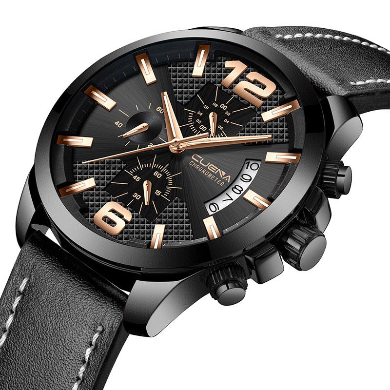 CUENA Men Watch Genuine Leather Strap Quartz Wrist Watch Special colorful Clock Best Dress Watch Mature Fashion Gift