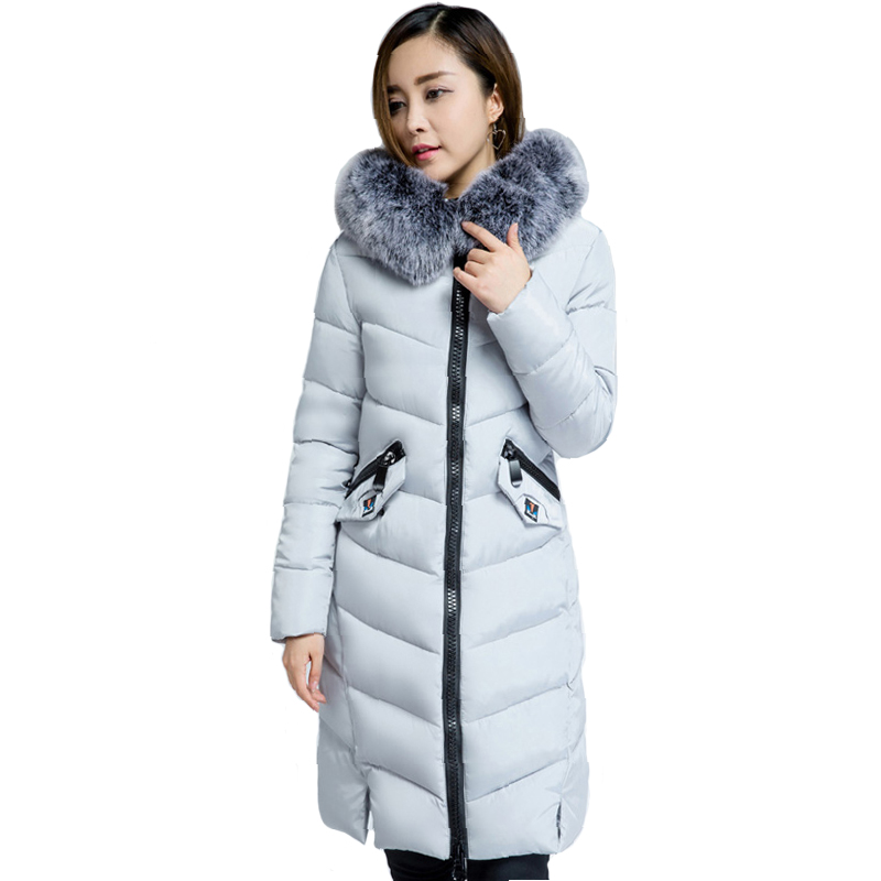 Long Women Winter Jacket 2018 Warm Thicken With Fur Hooded Winter Jacket Women Female Cotton Padded Parkas Outwear Coat