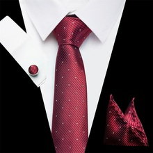 2018 Men`s Tie Silk Striped Jacquard Woven Classic Tie+Hanky+Cufflinks Set For Formal Wedding Business Party Christmas