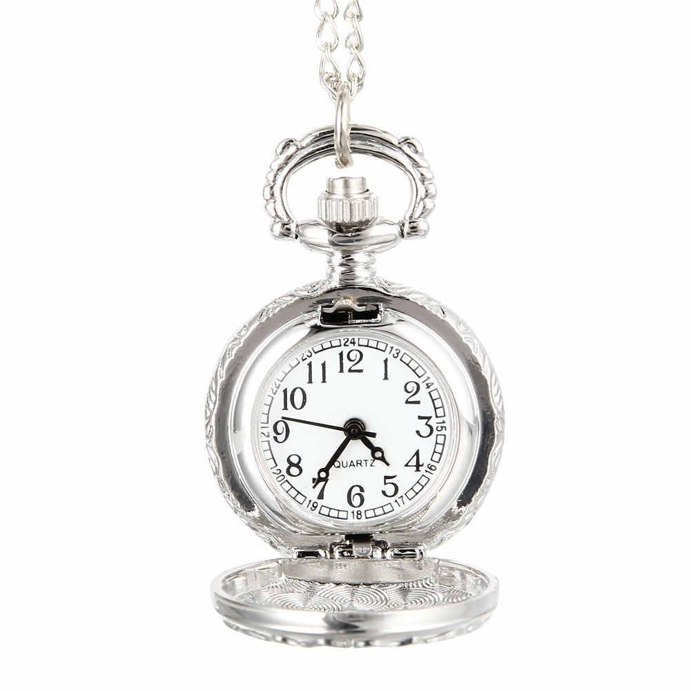 Модные Винтажные кварцевые карманные часы сплав цветы Бабочка Женская Подвеска для девочек кулон свитер цепочка часы подарки
