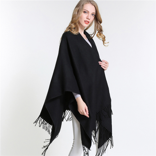 [SUMEIKE] New Winter Women Overwear Coat Solid Black Oversized Knitted Poncho Capes Duplex Shawl Cardigans Sweater With Tassel