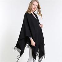 [Sumeike] Nuevo invierno mujer overwear capa sólido negro oversized poncho CAPES duplex shawl Chaquetas suéter con borla