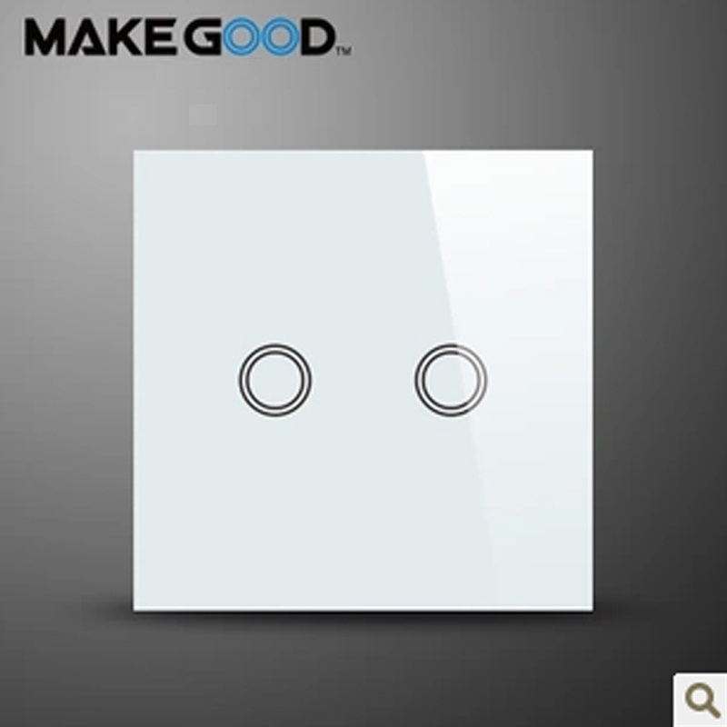 MakeGood EU Standard Touch Switch 2 Gang 1 Way, Crystal Glass Panel Wall Switch AC 110-250V/1000W for Light+ LED Indicator makegood uk standard 2 gang 1 way smart touch switch crystal glass panel wall switch ac 110 250v 1000w for light led indicator