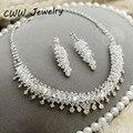 Casamento Traje Nupcial Jóias Acessórios Branco Cristal Austríaco Strass Colar Brincos Conjunto de Jóias Para Noivas (T074)