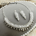Wedding Bridal Costume Jewelry Accessories White Austrian Crystal Rhinestone Necklace Earrings Jewelry Set For Brides  (T074)