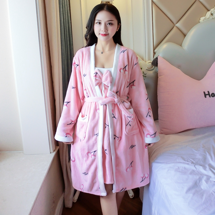 2PCS Sexy Thick Warm Flannel Robes Sets for Women 2018 Winter Coral Velvet Lingerie Night Dress Bathrobe Two Piece Set Nightgown 270