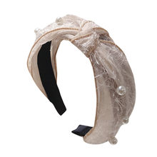 Pearl Lace mesh beige fixed bow Women's Crystal Headband Fabric hair clip Head Wrap Hair Band Accessories opaski do wlosow(China)
