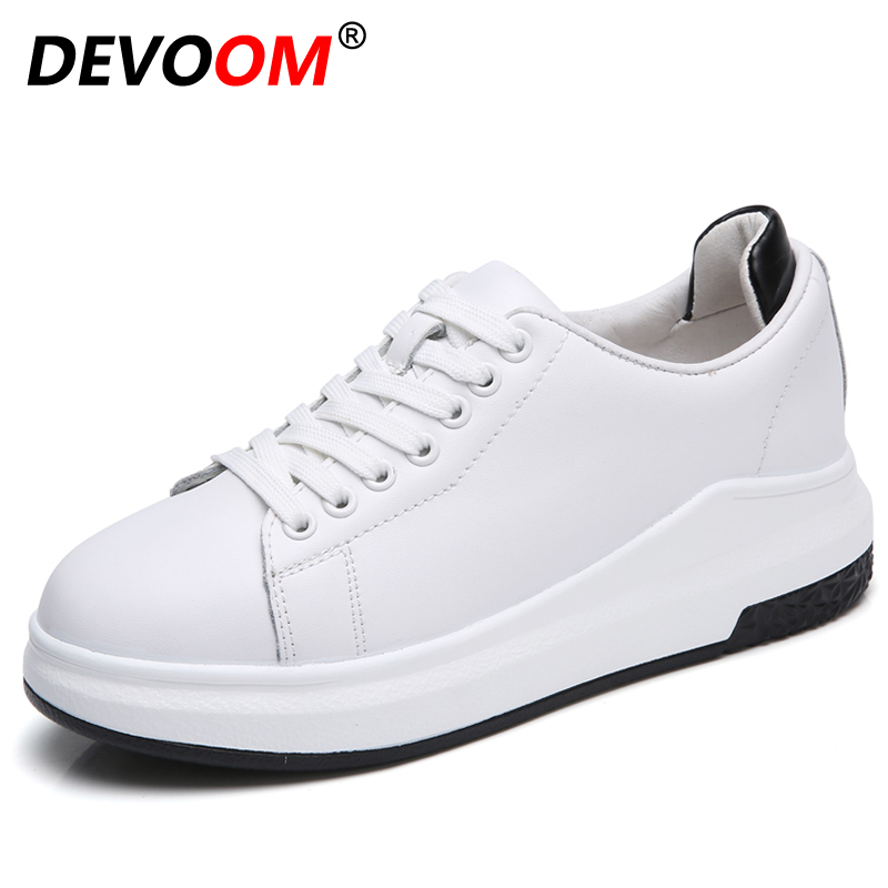 New Spring Womens Premium Split Leather Casual Shoes Ladies Fashion White/Black Sneakers Female Increased Elevator Platform Flat glowing sneakers usb charging shoes lights up colorful led kids luminous sneakers glowing sneakers black led shoes for boys