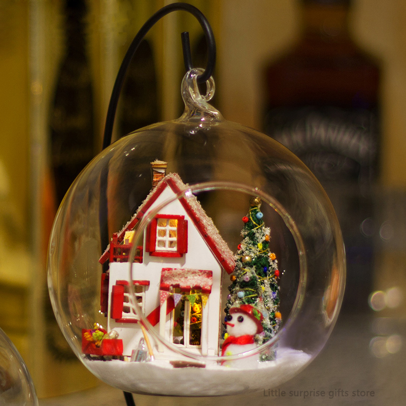 Model Building Diy Glass Ball 3d Miniature Assemble Model Travel To Holland Building Dollhouse Kits With Funitures For Kids Creative Gifts