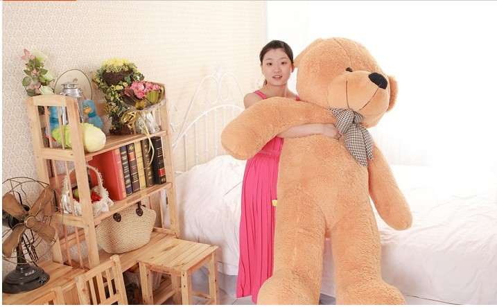 lovely huge bear toy plush toy cute big eyes bow stuffed bear toy teddy bear birthday gift light brown 160cm huge lovely plush purple teddy bear toy cute big eyes bow big stuffed teddy bear doll gift about 160cm
