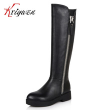 Big size 34-40 Brand 2016 New fashion motorcycle boot knee high western boots knight genuine leather boots for  women's shoes