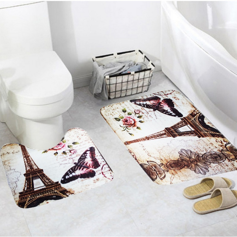 2Pcs Soft Paris Eiffel Tower Bath Pedestal Rug Cover