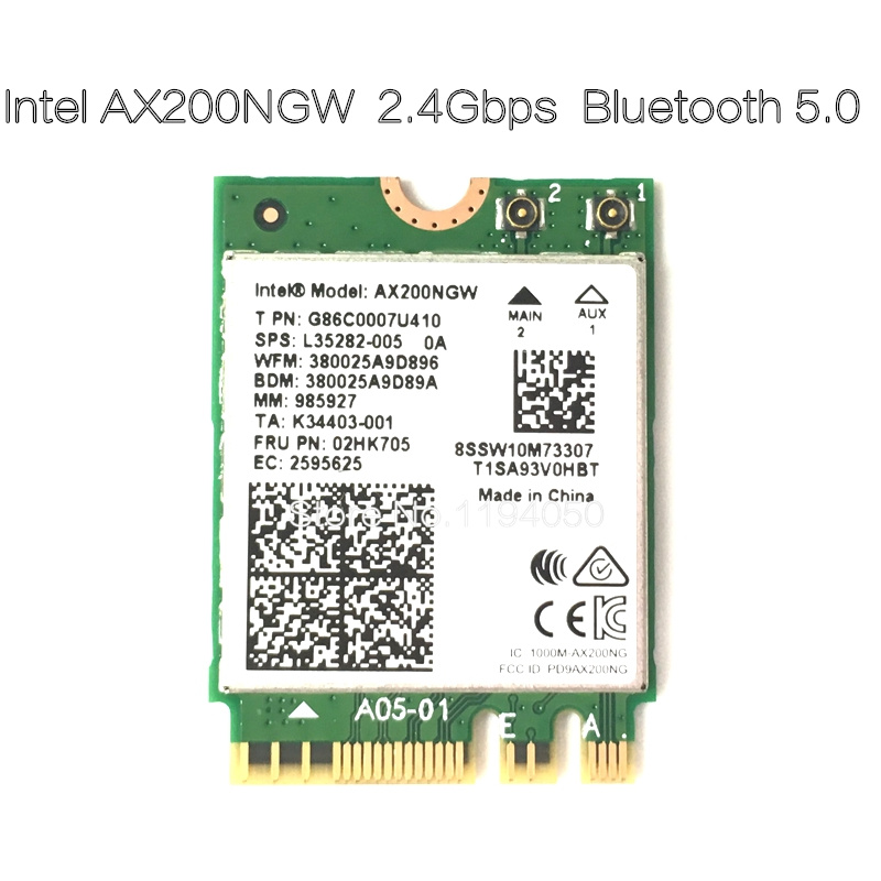 For Intel AX200  Band 2400Mbps Wireless NGFF M.2 Bluetooth 5.0 Wifi Network Card 2.4G/5G 802.11ac/ax WIFI AX200NGW