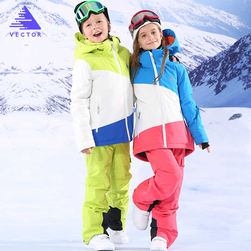 VECTOR Boys Girls Ski Suits Warm Waterproof Children Skiing Snowboarding Jackets + Pants Winter Kids Child Ski Clothing Set