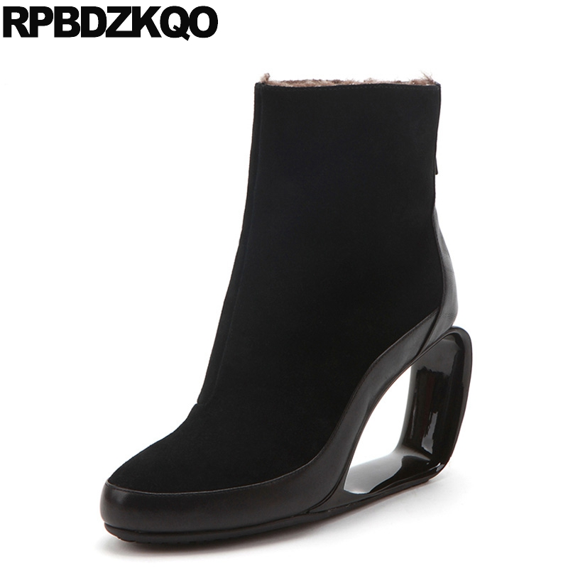 Shoes Black Brand Women Winter Boots Genuine Leather Round Toe Sexy Booties Warm High Heel Ankle Short Strange Fur Suede Ladies yanicuding round toe women flock ankle booties metal short boots zip design luxury brand fashion runway star autumn shoes flats