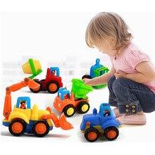 Envío libre feliz equipos inerciales coche camión volquete 4 UNIDS traje tractor excavadora juguete del tanque