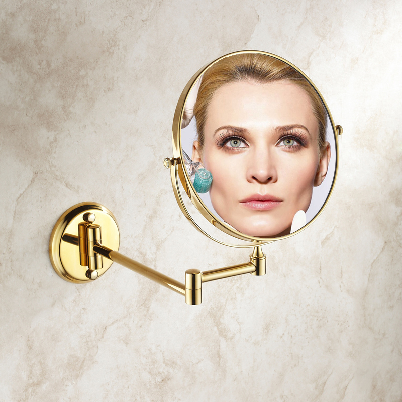 Free Shipping European Style 8 inches Double Side Gold Plated Folding Bathroom Mirror 2 Face Makeup Mirror 1:3 Magnifying микрофонная стойка athletic kb d5
