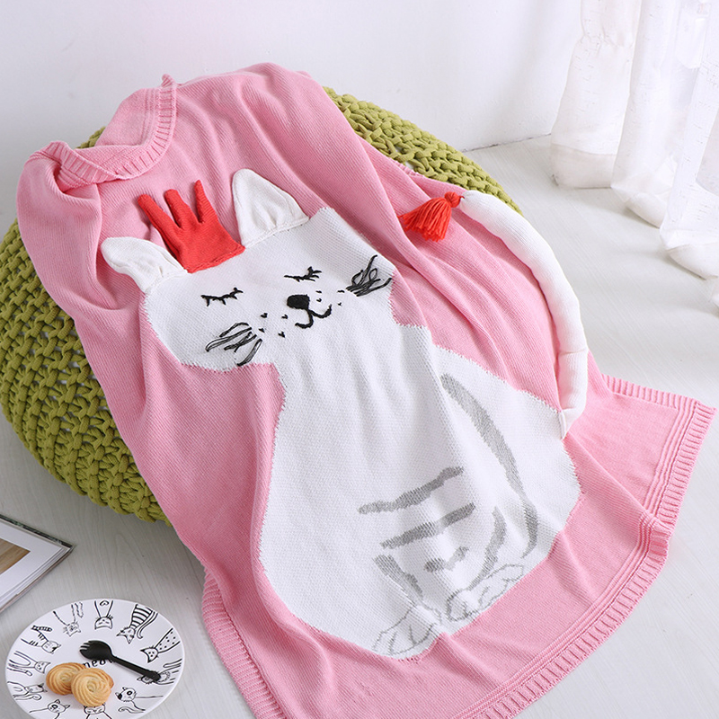 90*110cm Pink Baby Blankets Animal Cat Crochet Newborn Blanket Appease Babies Photo Props Kids Personalized Cotton Bedding Cover quik lok s380 5
