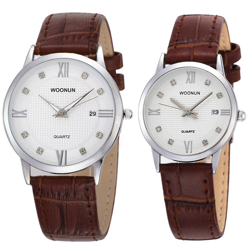 WOONUN Top Brand Luxury Couple Watches Lovers Watch Fashion Casual Women Men Quartz Wristwatch Leather Strap Best Gifts