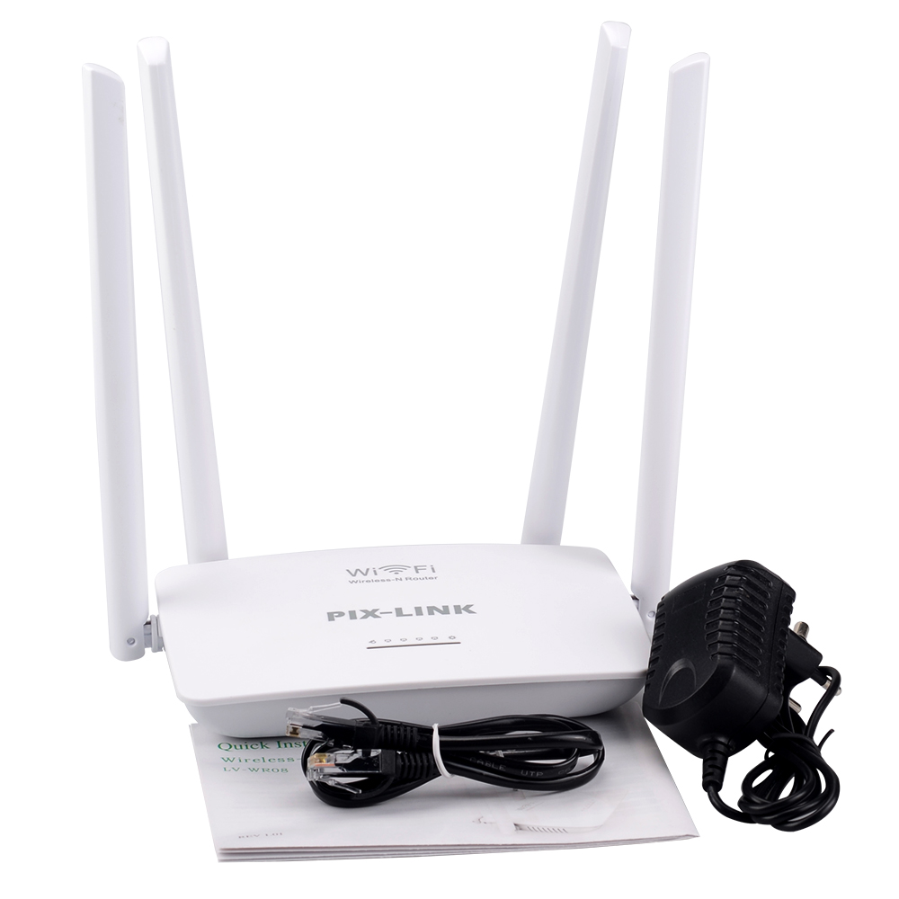 LV WR08 2.4G 300Mbps 4 Powerful Antennas Router Wifi Router WPS Button Wi fi 3 Lan Ports 1 Wan Port 802.11b/g/n|Satellite TV Receiver| |  - title=