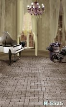 Brick Floor Photo Studio Backgrounds White Piano & Flowers Decor Vinyl Wedding Indoor Backdrops Photographic 5x7ft(150x200cm)