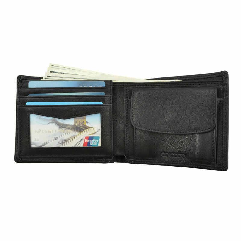 636ebca31 ... GENODERN de cuero de vaca hombres billeteras con bolsillo monedero  Vintage de hombre bolso función marrón ...