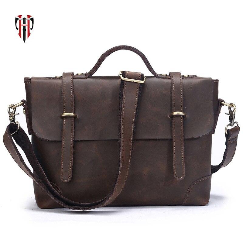 TIANHOO crazy horse leather man bags crossbody flap shoulder vintage casual style messenger bag for men Fake designer tote все цены