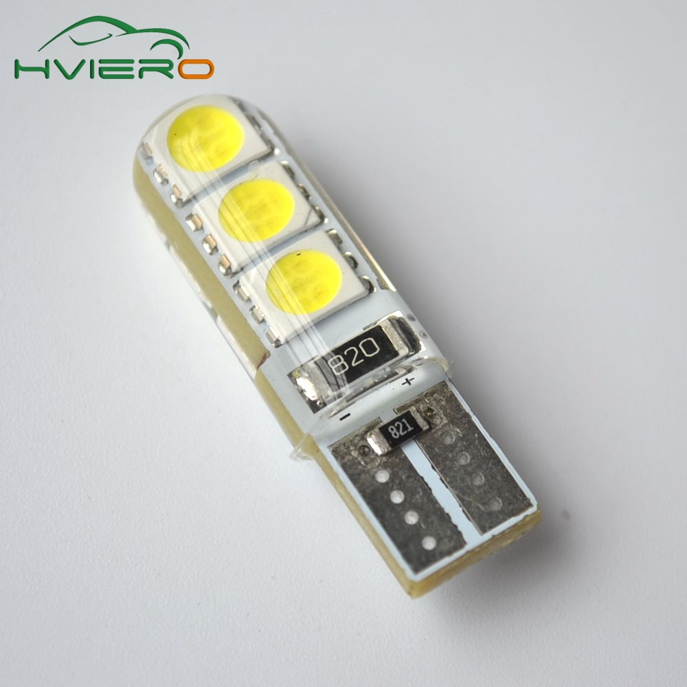 Car LED 2PCS T10 194 W5W DC 12V Canbus 6SMD 5050 Silicone shell LED Lights Bulb No Error Led Parking Fog light Auto car-styling 10pcs t10 501 194 w5w 5630 smd led car interior light bulb hid canbus error free wedge auto dome map door trunk parking lamp