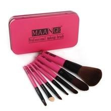 7 Pcs With Iron Box Professional Nylon Hair Makeup Brush Set Tools Cosmetic Travelling Brushes Set