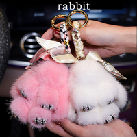 Fashion Cartoon Plush Rabbit Diamond Crystal Keychain Handbag Car Keyring Diamante Rabbit Key Buckle Key Chains Women Girls