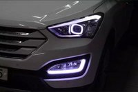 LED DRL daytime running light for Hyundai IX45 New santa fe 2013 15, guiding light design, pure white, with yellow turn light