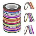 2 mm ampliou Striping linha Tape etiqueta Nail Art Gel UV dicas Rolls 20 m 10 cores atacado 6FH2