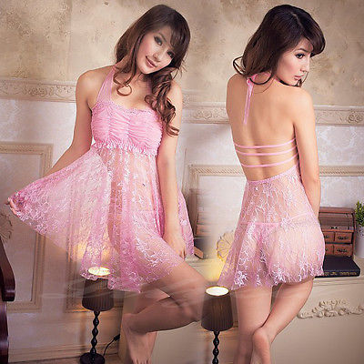 New Lingerie Pink Lace Sheer font b Babydoll b font Chemise Dress Sleepwear Nightie S M