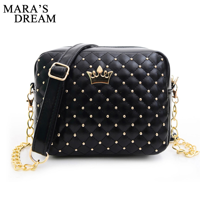 Maras Dream Small Women Bag Fashion Handbag With Crown Mini Rivet Shoulder Bag Women Messenger Bag 2019 Hot SaleMaras Dream Small Women Bag Fashion Handbag With Crown Mini Rivet Shoulder Bag Women Messenger Bag 2019 Hot Sale