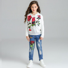 High Quality 2019 Girls Clothes 10 Years Sets Autumn Winter Denim Teen girls Clothing Girl Set 3Pcs For Girls Boutique Outfits hot sale fall boutique outfits embroidered toddler teenage girls clothing set denim autumn 2t to size 10 13 years