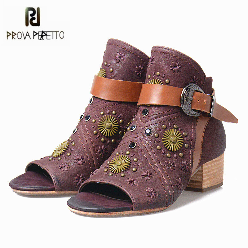 Prova Perfetto Retro Women Peep Toe Autumn Boots Square Heel Ankle Boots Genuine Leather Rivets Women Pumps Valentine Shoes hot 1 2 3 way 220v wireless remote control switch 190v 240v on off switches transmitter receiver module relay for lamp light