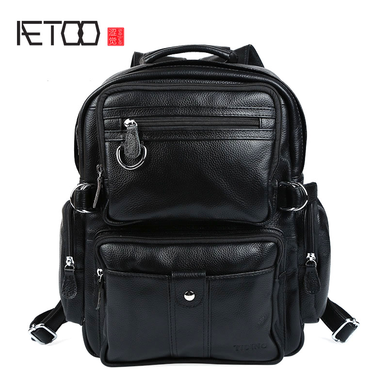 AETOO Personality men and women lychee pattern dual purpose backpack British college wind leather bag fashion square backpack fashion rabbit and grass pattern 10cm width wacky tie for men